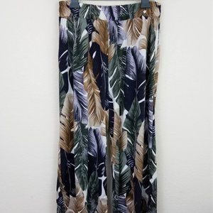 Tropical Palm Wide Leg Culotte Pants